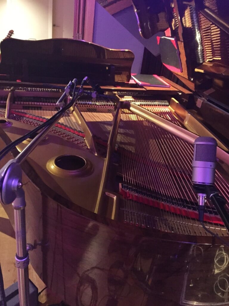 Miking of the grand piano at A Sharp Recording Studio