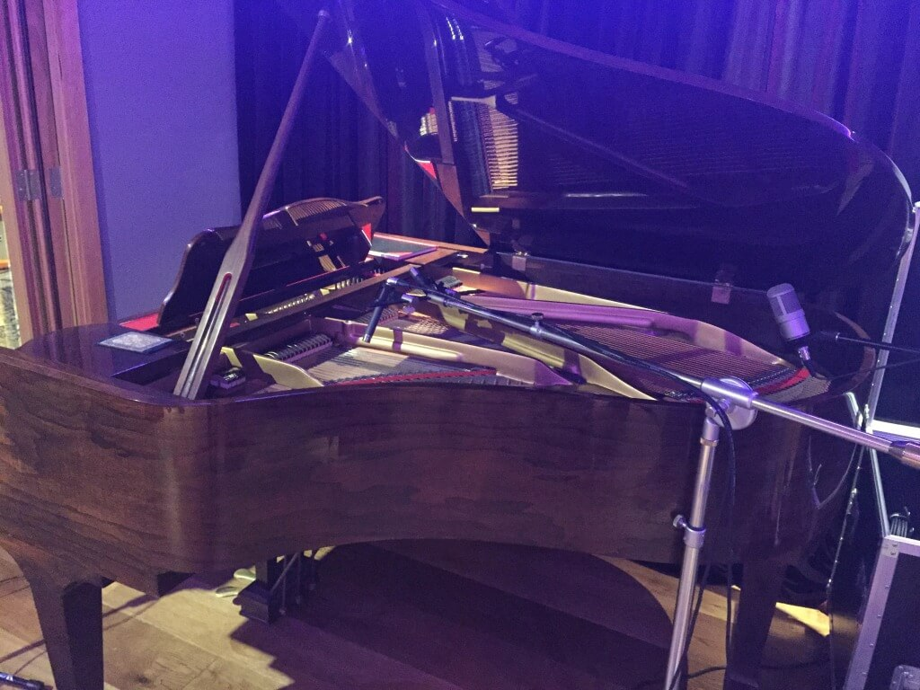 The grand piano ready for the Lennox Lust recording session