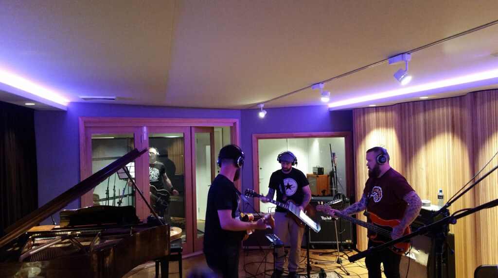 Rumjacks recording their new song at A Sharp Recording Studio