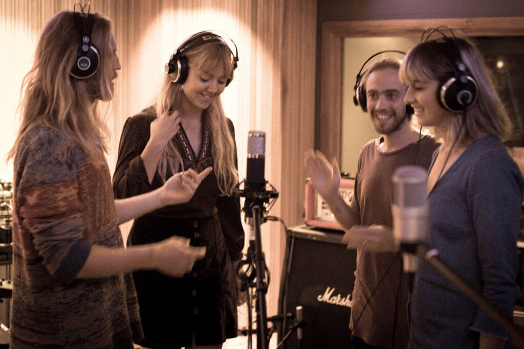 Iluka with her band Bobacious Babes at A Sharp Recording Studio